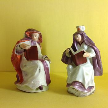 A rare pair of  Longton Hall figures of an Abbot and Abbess