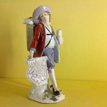 A rare Chelsea figure of a Mapseller
