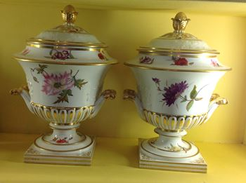 A pair of Chamberlain's Worcester fruit coolers, covers and liners