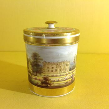 An unusual Staffordshire porcelain jar and cover