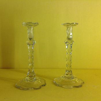 A pair of George III Irish cut glass tapersticks