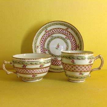 A Bristol tea cup, coffee cup and saucer