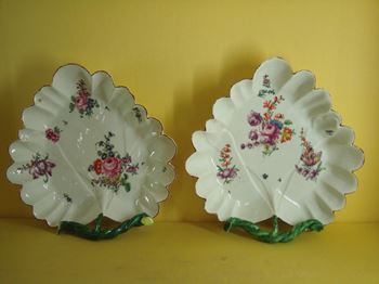 A fine pair of Longton Hall leaf shaped dishes