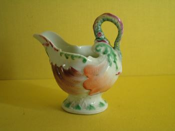 A Worcester 'dolphin ewer' butterboat