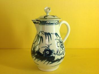 An unusual Worcester milk jug and cover