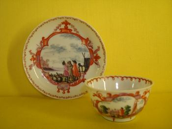 A rare Chinese miniature tea bowl and saucer
