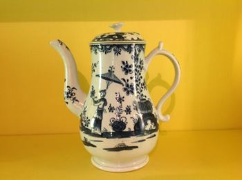 A rare Lowestoft coffee pot and cover